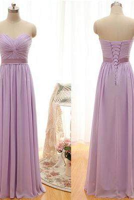 Strapless Sweetheart Ruched Chiffon A-line Floor-Length Prom Dress, Evening Dress