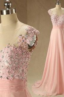 Sexy Prom Dress, Charming Prom Dress, Pink Prom Dresses,Long Prom Dress,A Line Chiffon Evening Dresses