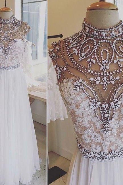 Long Prom Dress,Beaded Appliques Prom Dresses,High Neck Prom Dress,Sexy Prom Dresses,Evening Dress,Formal Gown