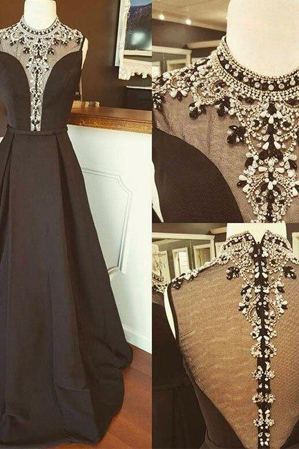 Sexy Prom Dress,Black High Neck Prom Dress,Long Prom Dress, Beading Formal Evening Dress,Evening Dresses