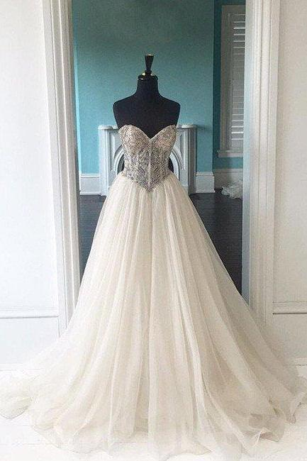 Long Prom Dress,Sweetheart Neck Prom Dress,Long Backless Prom Dress,Elegant Prom Dresses,Tulle Evening Dress, Formal Dresses