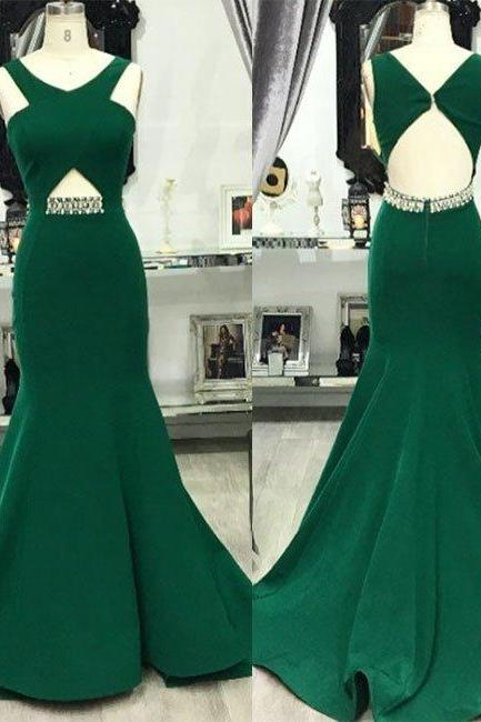 Dark Green Mermaid Prom Dress, Sexy Prom Dresses, Sleeveless Mermaid Evening Dress,Long Evening Dresses, Formal Dress