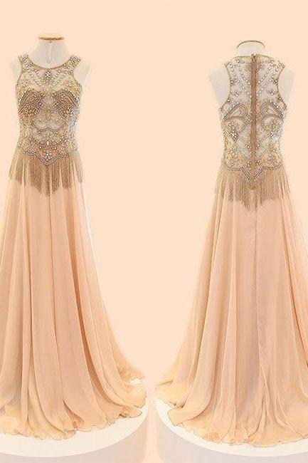 Charming Prom Dress,Sexy Prom Dress, Crystal and Beaded Prom Dresses,Sleeveless Evening Dress,Chiffon Evening Dresses,Formal Gown
