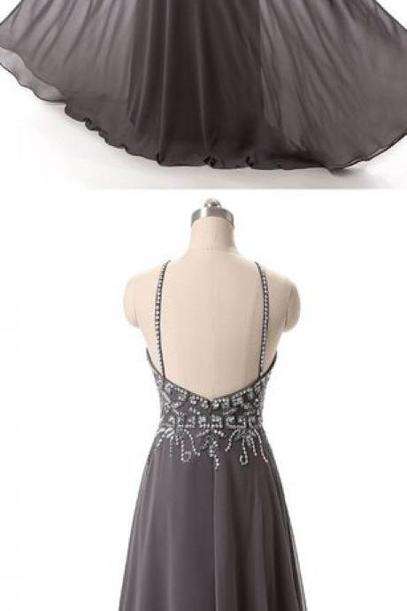 Charming Prom Dress,Grey Chiffon Prom Dress,Backless Prom Dresses,Sexy Prom Dress,Prom Gown, Long Evening Dress