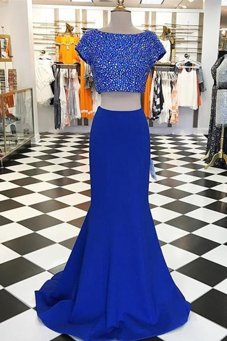 Two Piece Prom Dress,Dark Blue Prom Dresses,2 Piece Short Sleeve Evening Dress, Evening Dresses,Women Dress