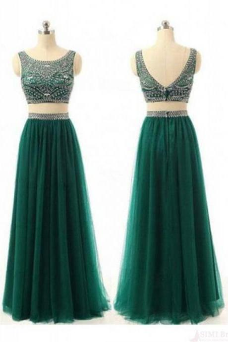 Two Piece Prom Dress,Dark Green Prom Dresses,2 Piece Sleeveless Prom Dress,Long Evening Dress, Evening Dresses,Women Dress