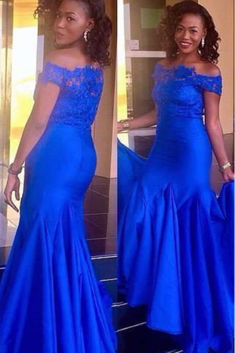 Mermaid Evening Dress,Dark Blue Evening Dresses,Formal Evening Gown,Lace and Appliques Formal Dress