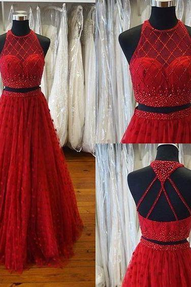 New Arrival Two Piece Prom Dress, Sexy Long Prom Dress,Halter Red Prom Gown,Tulle Beads Prom Party Dress,2017 Prom Dresses