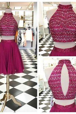 Charming Prom Dress,Two Piece Prom Dress,Beads Homecoming Dress,Tulle Halter Prom Dresses, Elegant Prom Dress,Short Prom Gown