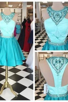 Charming Prom Dress,Short Prom Dress,Beads Homecoming Dress,Elegant Prom Dress,O Neck Prom Party Dress