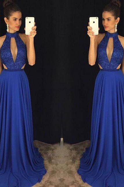 Dark Blue Evening Dress,Backless Evening Dresses,Sweep Train Evening Dresses,Long Evening Gowns