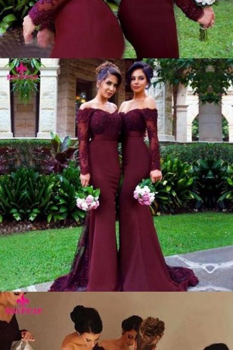 Custom Made Burgundy Off-Shoulder Lace Long Sleeve Mermaid Evening Dress, Bridesmaid Dress, Graduation Dress, Prom Dress, Cocktail Dresses