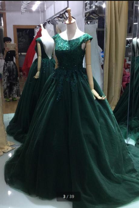 Lace Appliques Ball Gown Prom Dress,Backless Sexy Prom Dress,Beading Sequins Formal Prom Gowns,Long Evening Dress