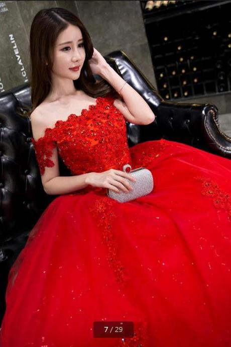 Vestidos De Novia Ball Gown Red Wedding Dress,Off the Shoulder Wedding Gowns Beading Sequined Formal Bride Dresses