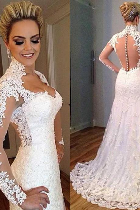 Sexy See Through Lace Wedding Dresses,Sweetheart Court Train Ivory Long Sleeve Robe De Mariage Boho Bridal Gowns