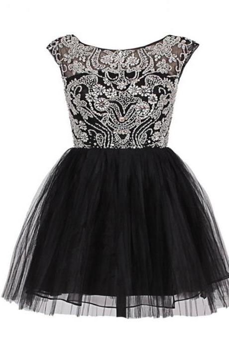 Glamorous A-Line Scoop Sleeveless Short Party Dress V-Back With Beading And Appliques Black Tulle Prom Dresses