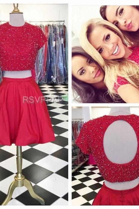 8th Grade Prom Dresses Two Piece Red Short Sleeve Open Back Beaded Top Stretch Satin Knee Length Homecoming Dresses With Sleeves