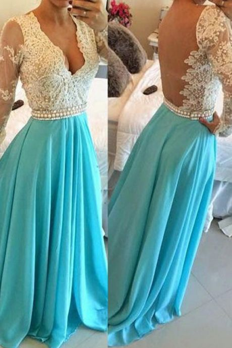 Elegant Prom Dress,Long Sleeve Sheer Prom Dress, Backless Evening Dress,Blue Evening Gowns,Sexy Prom Dresses