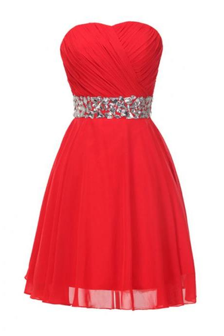 Red Strapless Sweetheart Ruched Beaded Chiffon Short Homecoming Dress, Party Dress, Prom Dress