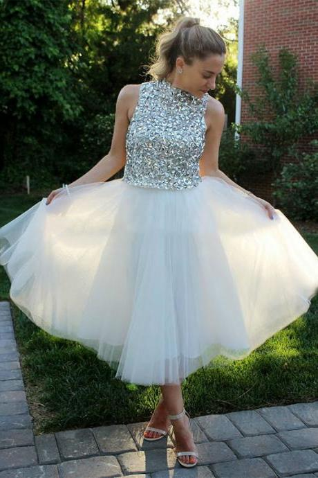 High Quality Tulle Prom Dress,High Neck Prom Dress,Crystal Evening Dress,Sleeve Formal Gown