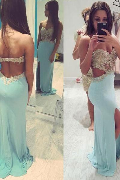 Charming Prom Dress,Backless Split Side Prom Dress,Appliques Beaded Prom Dresses,Chiffon Prom Party Dress,Prom Dresses