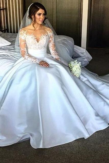 New Elegant Long Sleeve Appliques Taffeta Ball Gown Princess Wedding Dresses Bridal Gowns Vestido De Noiva
