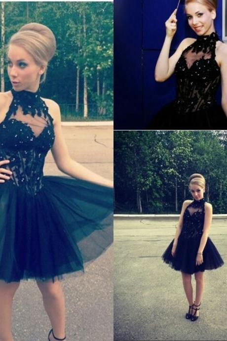 Halter Neck Sleeveless Party Evening Gown With Beading, A Line Tulle Prom Dress,Short Prom Gowns