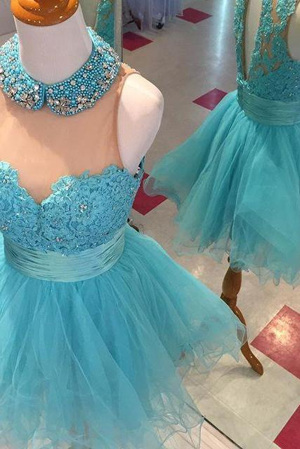 Charming Prom Dress,Tulle Prom Gown,O Neck Prom Party Dress,Party Gown,Beaded Prom Dresses