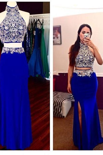 Prom Dress,Two Piece Prom Dresses,Sexy Prom Dress,Beaded Backless Party Dress,Side Slit Evening Dress,Formal Dress