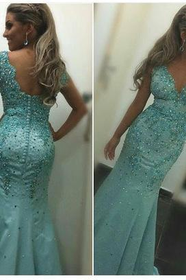 Sexy Prom Dress,Long Prom Dress, Mermaid Beaded Prom Dress,Elegant Prom Dresses,Evening Dress,Formal Gown,Modest Prom Dresses