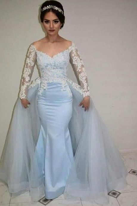 Charming Prom Dress,Long Sleeve Appliques Lace Prom Dresses,Mermaid Prom Dress,Sexy Evening Dresses,Formal Gown