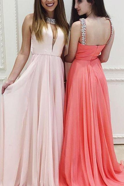 Charming Prom Dress,Long Prom Dresses,Sexy Beaded Evening Dress,Sexy Prom Gown,Pretty Chiffon Prom Dresses