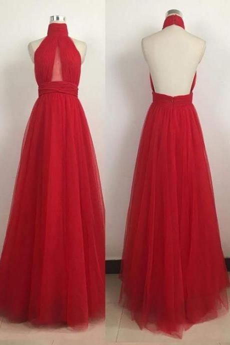 Red Simple Evening Dress,Sexy Evening Dresses,Tulle Prom Dress,Backless Prom Dresses,Vintage Prom Dress