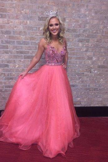 Fashionable Prom Dress,Charming Prom Dress,Tulle Prom Dress,Long Prom Dresses,Backless Prom Gown