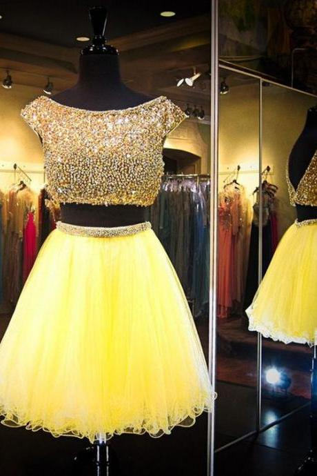 Tulle Homecoming Dress,Two Piece Homecoming Dress,Cap Sleeve Beaded Prom Dress,Short Prom Gown