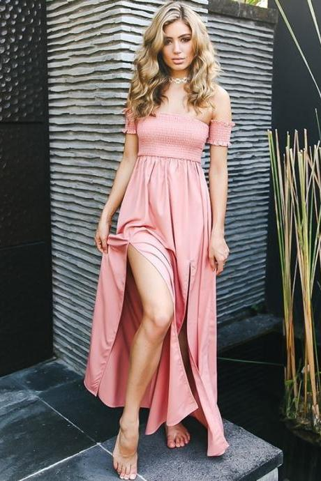 Sexy Simple Prom Dress, High Slit Prom Dress,Backless Prom Dresses,Long Prom Dress,Sexy Evening Dress