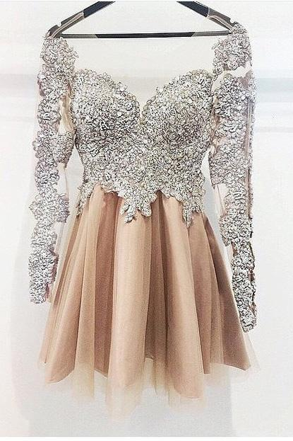 Sexy Prom Dress,Long Sleeve Prom Dress,Elegant Prom Dresses,Tulle Prom Gown
