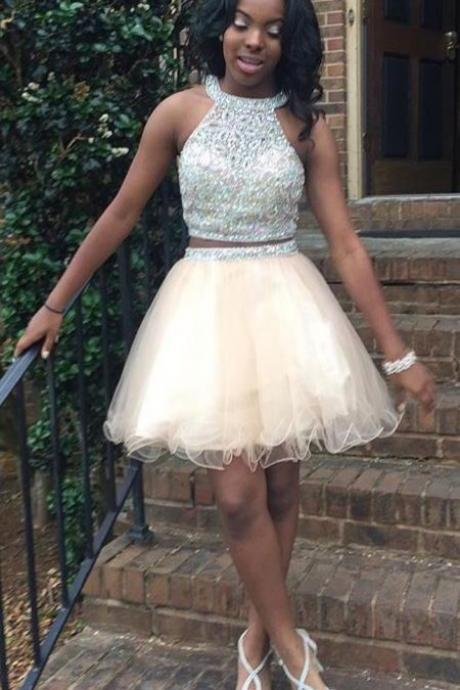 Elegant Prom Dress,Beaded Prom Dress,Formal Homecoming Dress,Two Piece Prom Gown