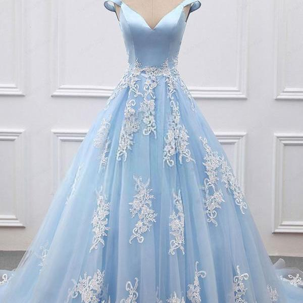 Sexy Blue Prom Dresses Ball Gowns Long Blue Tulle Appliques Appliques Sweet 16 Dress