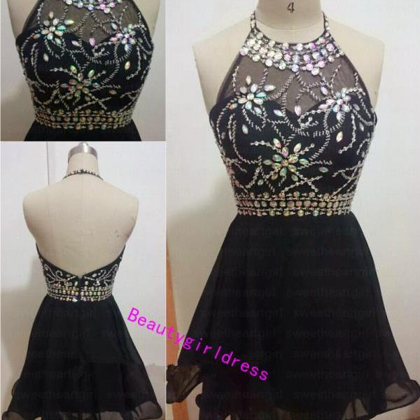 Bg267 Charming Prom Dress,Halter Prom Dress,Black Prom Dress,Chiffon Prom Dresses,Beading Homecoming Dress