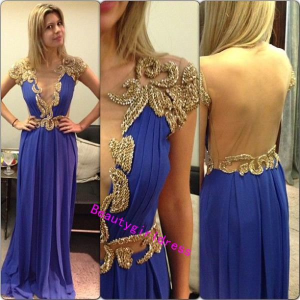 Bg269 Charming Prom Dress, Royal Blue Prom Dress,Sexy Prom Dress,Chifffon Prom Dress,Cap Sleeve Prom Dress,See Though Prom Dress,Long Evening Dress