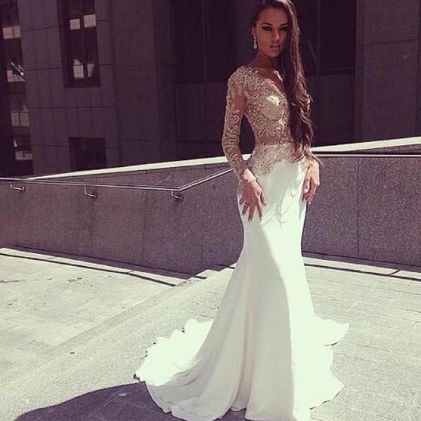 Bg1330 Charming Prom Dress,White Mermaid Prom Dresses,Long Sleeves See Through Floor Length Prom Party Dress