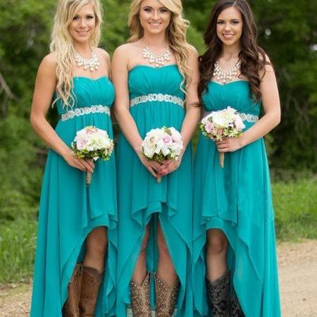 Bg1334 Turquoise Beach Bridesmaid Dresses ,High Low Modest Chiffon Long Wedding Guest Gowns