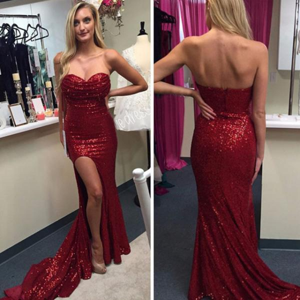 Sexy Red Split Side Bling Sequins Party Dress Burgundy Sequins Mermaid Prom Dress