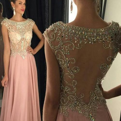 Bling New Long Evening Dress Scoop Neck Cap Sleeve Floor Length A-Line Crystal Beading Chiffon Prom Dresses